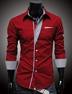 Men's Solid Casual Shirt,Cotton Long Sleeve Black / Blue / Red / White