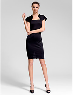 Homecoming Cocktail Party Dress - Ruby/Black Sheath/Column Queen Anne Short/Mini Cotton