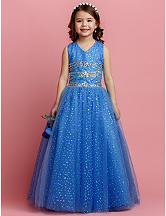 Lanting Bride Ball Gown Floor-length Flower Girl Dress - Tulle Sleeveless V-neck with Beading / Crystal Detailing