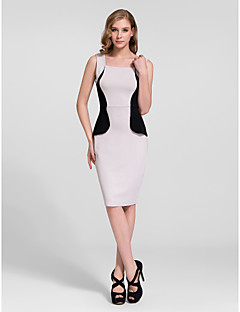 Cocktail Party Dress - Clover/White/Champagne/Silver Sheath/Column Straps Knee-length Cotton