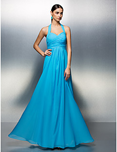 Lanting Prom / Formal Evening Dress - Pool Plus Sizes / Petite A-line Halter Floor-length Chiffon