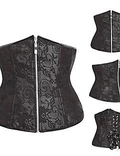 Black Floral Lace Satin Classic Lolita Korsett