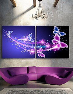 e-FOYER étiré conduit art de toile d'impression effet papillon flash ensemble de 2 conduit