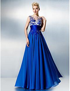 A-line Jewel Floor-length Chiffon And Lace Evening Dress
