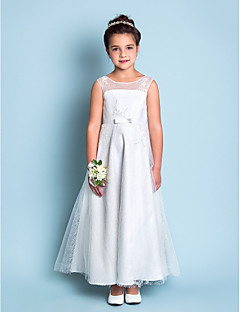 A-line Jewel Ankle-length Lace Flower Girl Dress