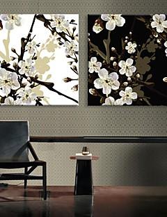 E-HOME® Stretched LED Canvas Print Art The Plum Blossom Flash effect LED Set of 2
