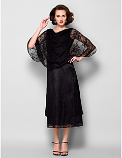 Sheath/Column Mother of the Bride Dress - Black Tea-length Half Sleeve Lace