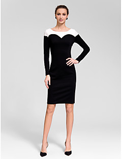 Cocktail Party Dress - Black Sheath/Column Jewel Knee-length Polyester
