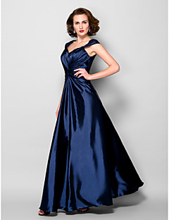 A-line Plus Sizes / Petite Mother of the Bride Dress - Dark Navy Floor-length Sleeveless Stretch Satin / Lace