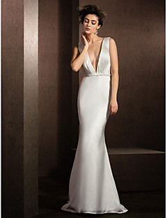 Trumpet/Mermaid Wedding Dress - Ivory Sweep/Brush Train V-neck Satin Chiffon