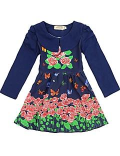 Κορίτσια Φόρεμα Μείγμα Βαμβακιού Φλοράλ Άνοιξη / Φθινόπωρο Μπλε / Μωβ / Κίτρινο