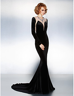 Fiesta formal Vestido - Negro Corte Sirena Cola Corte - Escote Joya Terciopelo