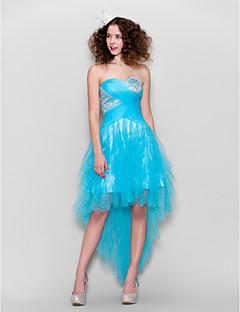 Vestido - Azul Lua de Mel/Festa Formal/Festa de Casamento Linha-A Curação Assimétrico Tule