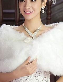 패션 가짜 모피 진주 결혼식 (프리 사이즈) 볼레로 어깨를 으쓱 랩