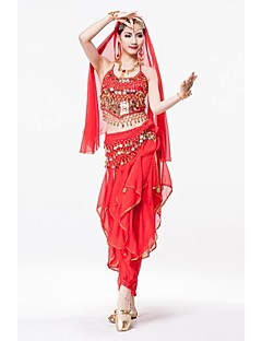 Belly Dance Tops / Headpieces / Skirts / Hip Scarves Women's Performance Chiffon / Sequined / Metal Gold Coins / Sash/Ribbon / SequinsAs
