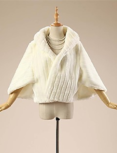 Wedding Faux Fur Coats/Jackets 3/4-Length Sleeve Fur Wraps