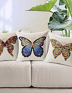 conjunto de 3 a capa de travesseiro decorativo borboletas algodão / linho impressa