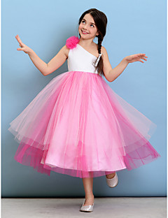 Tea-length Tulle Junior Bridesmaid Dress Ball Gown One Shoulder with Flower(s)