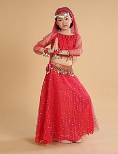 Czy taniec brzucha kostiumy dla dzieci wykonanie / trenowanie monet szyfonowych / poliestrowych / tulejek 3/4 długość rękawa naturalna