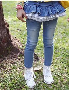 Jeans Ensfarget Bomullsblanding Vår Høst