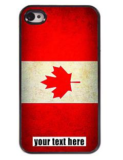 caixa personalizada bandeira canadense caso design de metal para iPhone 4 / 4S