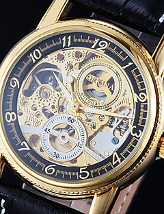 Men's Watch Auto-Mechanical Watch Gold Hollow Engraving Elegant PU Band Wrist Watch Cool Watch Unique Watch Fashion Watch