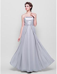 Robe de Demoiselle d'Honneur - Argent A-line Sans bretelles Longueur ras du sol Mousseline polyester/Satin Stretch