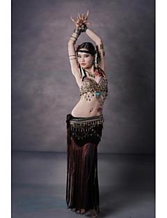 Dança do Ventre Roupa Mulheres Actuação Algodão / Poliéster / Veludo Moedas de Bronze / Botões / Padrão/Estampado / Borla(s) / Leopardo