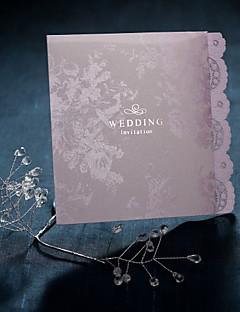 Nem személyre szabott csukott Esküvői Meghívók Meghívók-50 Darab / készlet Régies stílus / Flóra stílus Gyöngy-papír 12*14,5 cm