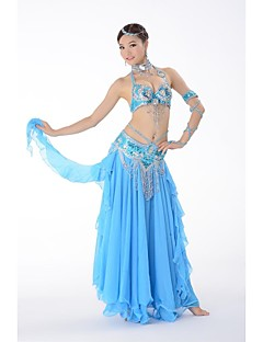 Belly Dance Outfits Women's Performance Chiffon / Sequined Buttons / Paillettes / Pattern/Print / Sequins 3 PiecesBlack / Fuchsia / Green