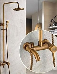 伝統風 シャワーシステム レインシャワー ハンドシャワーは含まれている with  セラミックバルブ 三つ シングルハンドル三穴 for  アンティーク真鍮 , シャワー水栓