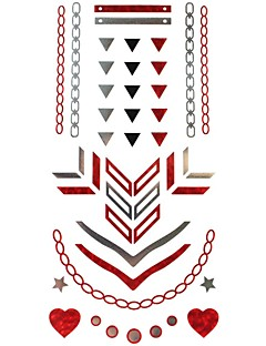 1Pcs  Metal Red Silver Series Triangle Pattern  Tattoo Sticker