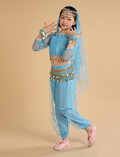 Belly Dance Outfits Children's Performance / Training Chiffon / Polyester Coins / Tassel(s) Long Sleeve Natural S:90cm,M:100cm,L:108cm