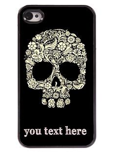 flor caixa personalizada e do crânio caso design de metal para iPhone 4 / 4S