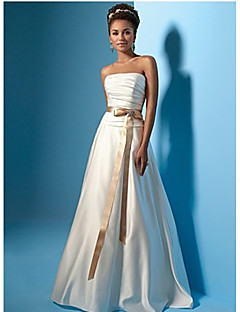 A-line Wedding Dress Court Train/Floor-length Strapless Satin Chiffon