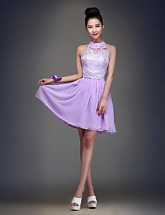 Knee-length Chiffon Elegant / Lace-up Bridesmaid Dress - Ball Gown Jewel with Lace