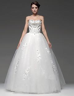 Robe de Mariage - Blanc & champagne (couleur & style nuançables selon l'affichage) Princesse Sans Bretelles Ras du Sol Ras du Sol