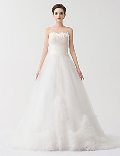 A-line Floor-length Wedding Dress -Strapless Satin