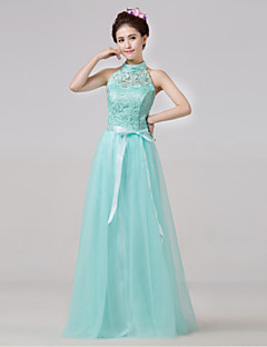 Floor-length Bridesmaid Dress A-line High Neck with