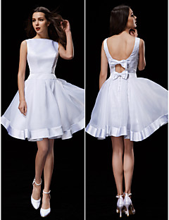 A-line Wedding Dress - White Knee-length Bateau Organza/Satin
