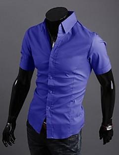 Kortærmet Herre Ensfarvet Afslappet/Hverdag Skjorte,Bomuld Polyester
