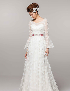 A-line Court Train Wedding Dress -Scoop Satin