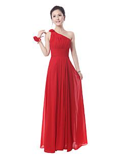 Vestido - Rojo/Azul Real Corte Recto Hasta el Suelo - Solo Hombro Algodón