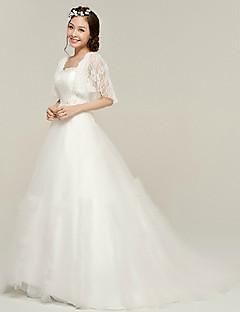 Elegantní & luxusní Široká sukně Hranatý Dlouhá vlečka Svatební šaty ( Organza )