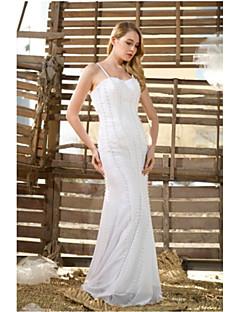 트럼펫 / 인어 층 길이 웨딩 드레스는 새틴 -straps
