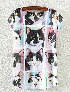 Vrouwen Eenvoudig Lente / Zomer / Herfst T-shirt,Casual/Dagelijks Kleurenblok Mouwloos Wit Dun
