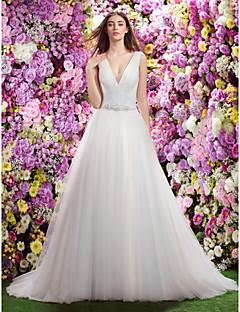 lan ting robe une ligne / mariage de la princesse - ciel tribunal train bleu col en V en tulle