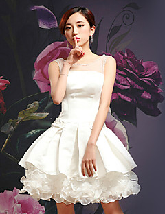 Homecoming Cocktail Party Dress - White Ball Gown Square Ankle-length Satin/Silk