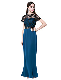 Sheath/Column Jewel Floor-length Cotton And Lace Evening Dress