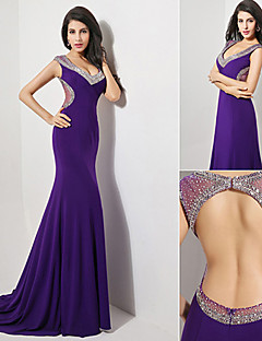 Sheath/Column V-neck Floor-length Evening Dress